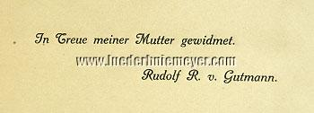 Rudolf Ritter von Gutmann, Catalogue of a Ridinger collection: Copy I/II (dedication to his mother)