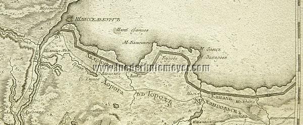 Alexander Wilbrecht, Karta Okrujnosti St. Peterburga (detail of Ladoga Canal)