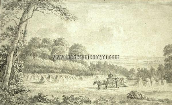 Dutch School - Landscape with the Three Peasants loading Crop