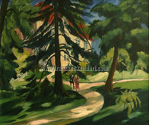 Franz Heckendorf, House in the Park with Couple (1921)