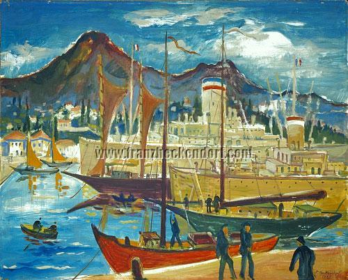 Franz Heckendorf, Mediterranean Harbor (Trieste?)