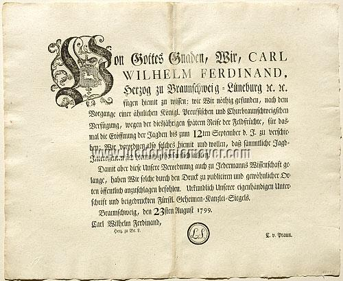 Decree of Charles William Ferdinand of Brunswick-Luneburg