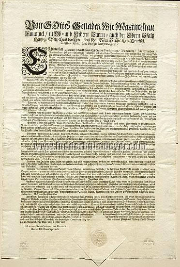 Patent Maximilian II. Emanuel Kurfürst von Bayern