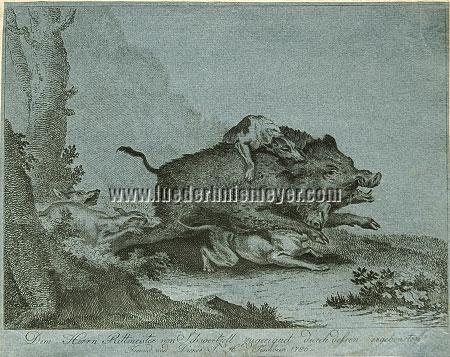 Joh. Hch. Tischbein, Boar Hunt on Blue Paper