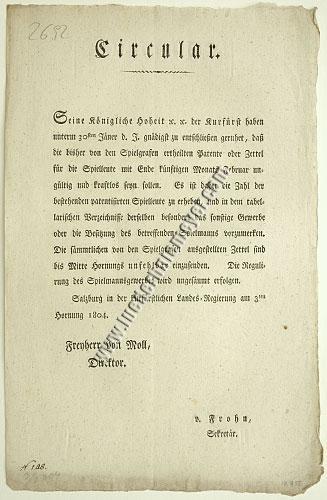 Circular zur Regulierung der Spielgrafen (Salzburg 3. Feb. 1804)