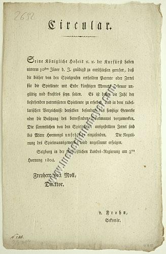Circular regulating Street Musician (Salzburg Feb 3, 1804)