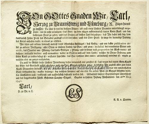 Bier-Verordnung Wolfenbüttel 28. Mai 1740
