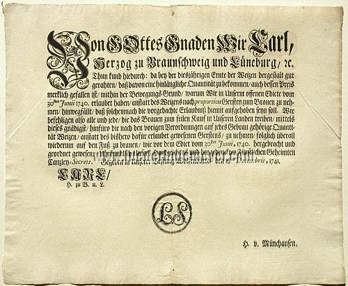 Bier-Verordnung Wolfenbüttel 18. Dez. 1741
