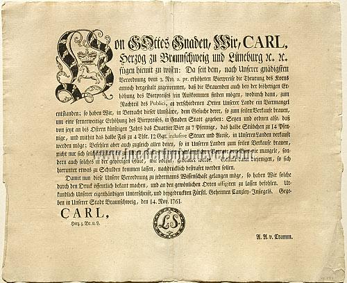 Bier-Verordnung Braunschweig 14 Nov. 1761