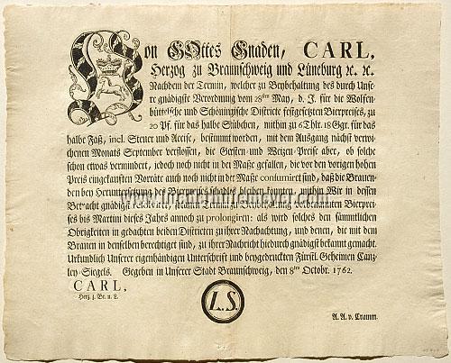 Bier-Verordnung Braunschweig 8. Okt. 1762