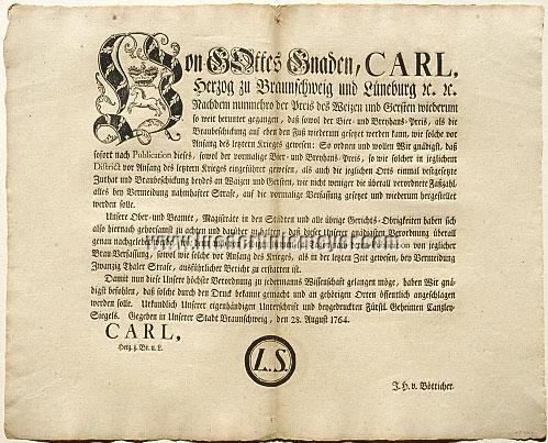 Bier-Verordnung Braunschweig 28. Aug. 1764