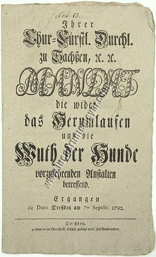 Mandate on Hydrophobia by Frederick Augustus of Saxony (1782)