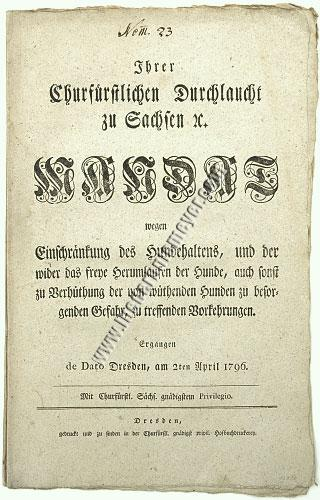 Mandate on Rabies by Frederick Augustus of Saxony (1796)
