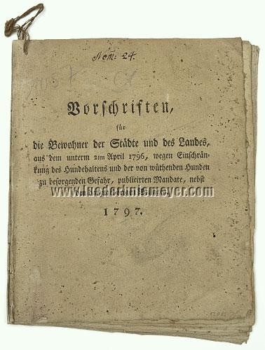 Regulations on Rabies by Frederick Augustus of Saxony (1797)