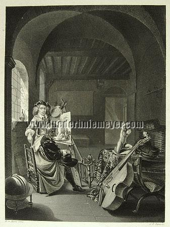 Frans van Mieris, Frans van Mieris erhält in seinem Atelier Besuch