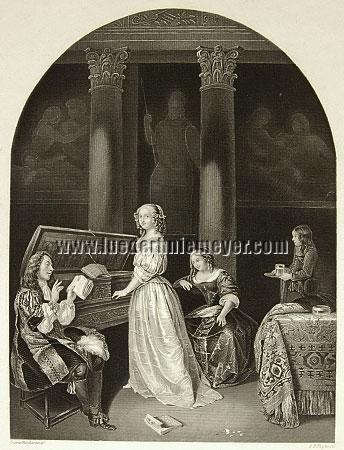 Caspar Netscher, Lady playing the Harpsichord