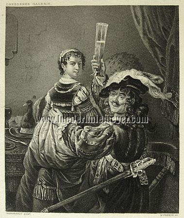 Rembrandt and his Wife celebrating