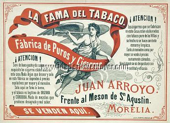 Advertisement of the cigar factory of Juan Arroyo in Morelia