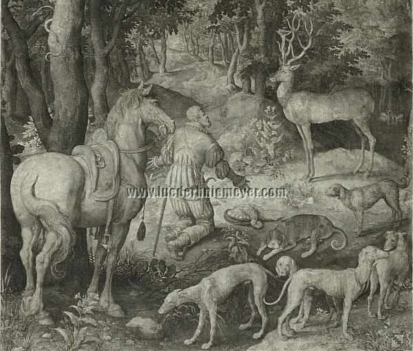 Nicolaes de Bruyn, St. Hubertus (Ausschnitt)