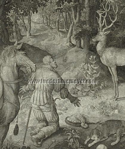 Nicolaes de Bruyn, Hl. Hubertus knieend (Ausschnitt)