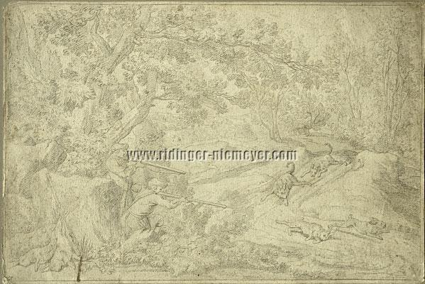 Johann Elias Ridinger, Lying in wait for Hares and How They are driven by the Stoberhund (drawing)