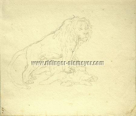 Ridinger, Lion standing on Killed Wild Boar (2 sketches)