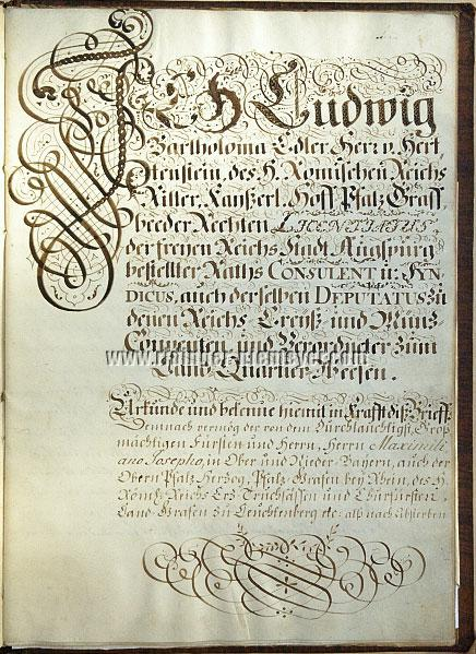 Grant of Arms for Johann Elias Ridinger (page 1)