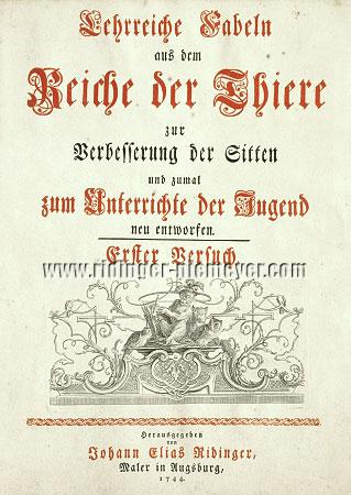 Johann Elias Ridinger, Title to the Fable suite
