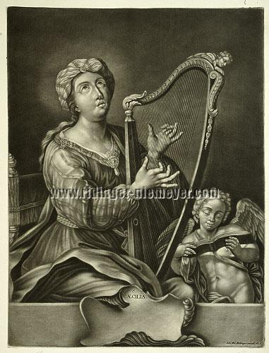 Johann Elias Ridinger, St. Cecilia with the Harp