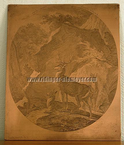 Johann Elias Ridinger, Abend der Hirsche