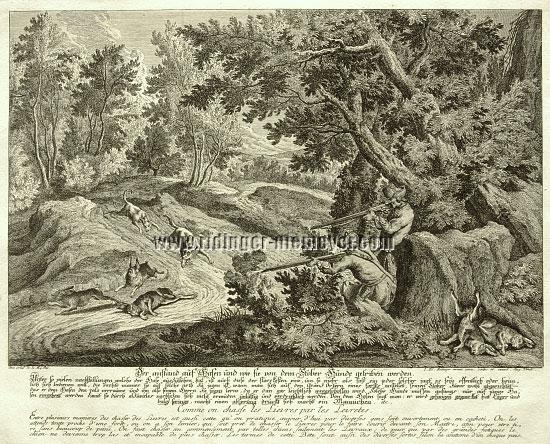 Johann Elias Ridinger, Lying in wait for Hares and how they are driven by the Stoberhund (etching)