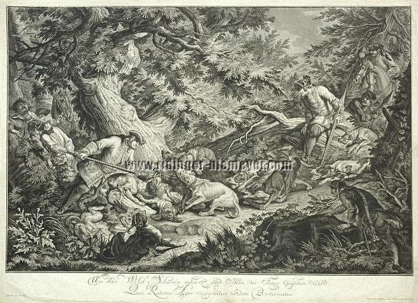 Johann Elias Ridinger, How the Wild Boar is hunted and dealt the coup de grâce