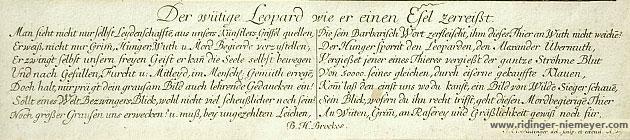Johann Elias Ridinger, Untertext aus Der wüthige Leopard wie er einen Esel zerreisst
