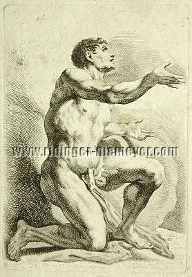 Johann Elias Ridinger, Kneeling Nude