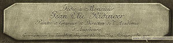 Jean Elie Ridinger Peintre et Graveur et Directeur de l'Académie d'Augsbourg