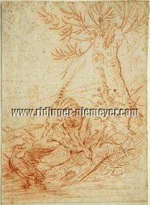 Johann Elias Ridinger, Kuder unter drei Enten