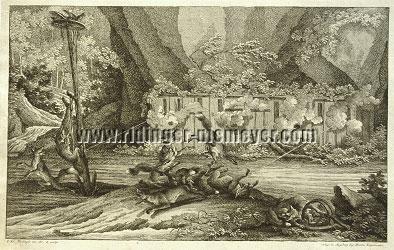 Johann Elias Ridinger, Wie die Füchse geludert werden