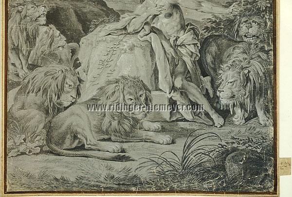 Ridinger, Daniel in the Den of Lions (detail)