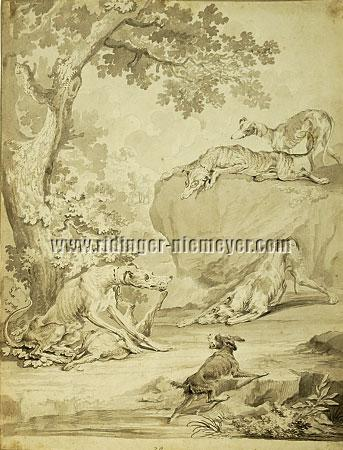 "Johann Elias Ridinger, The original preparatory drawing to ""The Spring of the Hounds"""