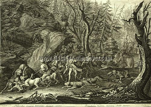 Johann Elias Ridinger, A Hunt for the Bear in Polish Woodland