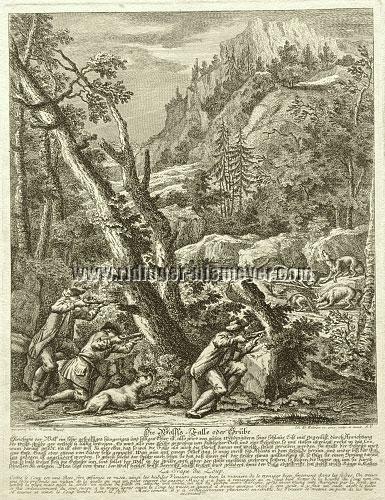 Johann Elias Ridinger, Wolfsfalle oder Grube