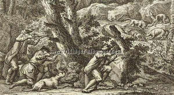 Johann Elias Ridinger, Wolfsfalle (Ausschnitt)