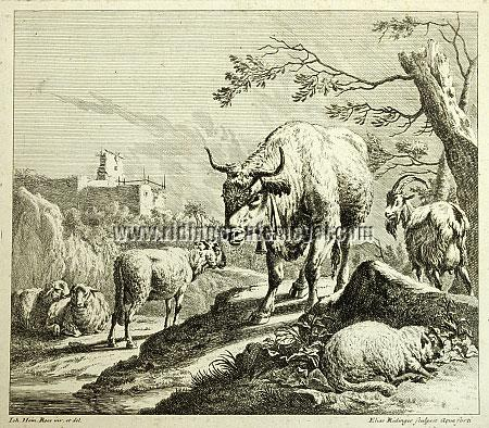 Johann Elias Ridinger, Bull with Bell