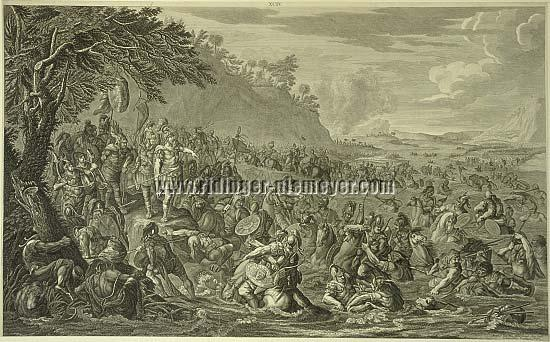 Johann Elias Ridinger, Alexander the Great crosses the River Tigris 331 BC.