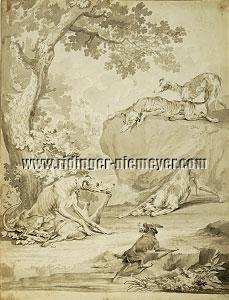 Johann Elias Ridinger, Spring of the Hounds (Drawing)
