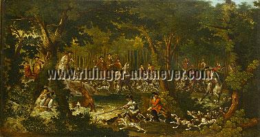 Johann Elias Ridinger + Georg Adam Eger, The Stag turns to Bay in the Water, the Hounds are ceased and He receives the Coup de Grâce