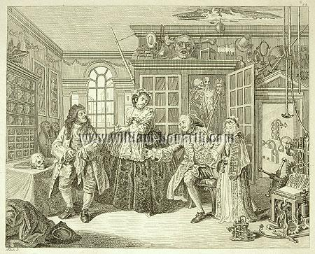 William Hogarth, Visiting the Quack Doctor (Marriage à la Mode III; Rahl)