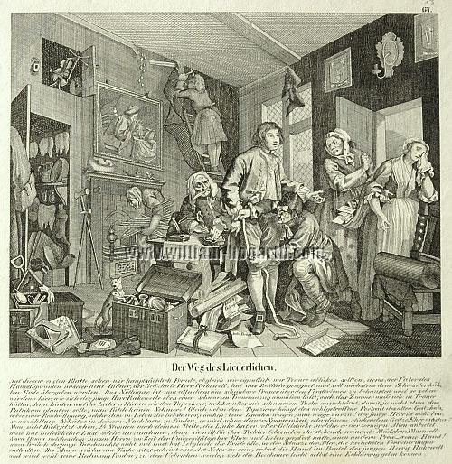 William Hogarth, Young Heir taking Possession (Rake's Progress I; lithograph)