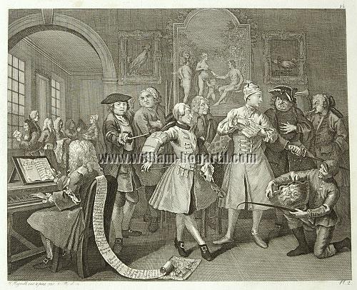 William Hogarth, Rakewell with Artists and Professors (Riepenhausen)