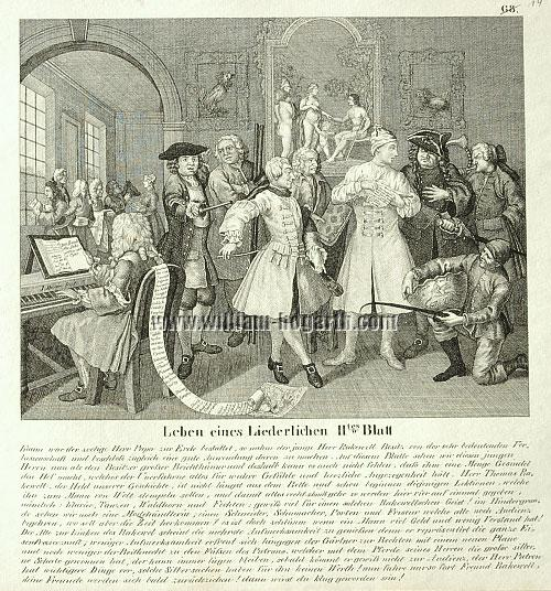 William Hogarth, Rakewell with Artists and Professors (lithograph)